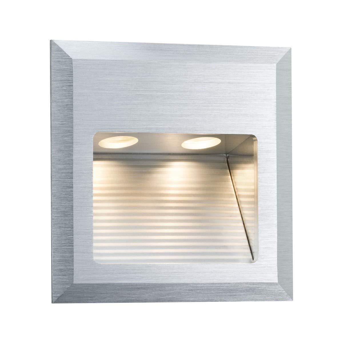 Paulmann 93753 Wandeinbauleuchte Special Line Quadro Einbaustrahler Alu gebürstet Wandspot 1er Set 1x2W 230V 350 mA 3VA Lampe inkl. Leuchtmittel Außenwandeinbauleuchte, Aluminium, Integriert, 2 W, Silber