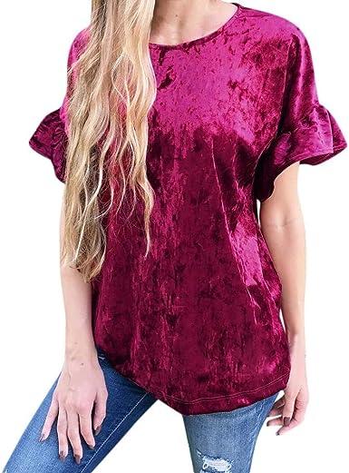 Camisetas Mujer Fashion Vintage Corta Elegantes Terciopelo Camisas Señoras Manga Ropa Festiva Cuello Redondo Anchos Casuales Colores Sólidos Tops Shirts Blusas: Amazon.es: Ropa y accesorios