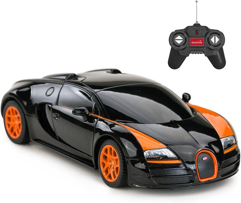 Amazon Com Rastar Rc Car 1 24 Bugatti Veyron 16 4 Grand Sport Vitesse Radio Remote Control Racing Toy Car Model Vehicle Black Orange Toys Games
