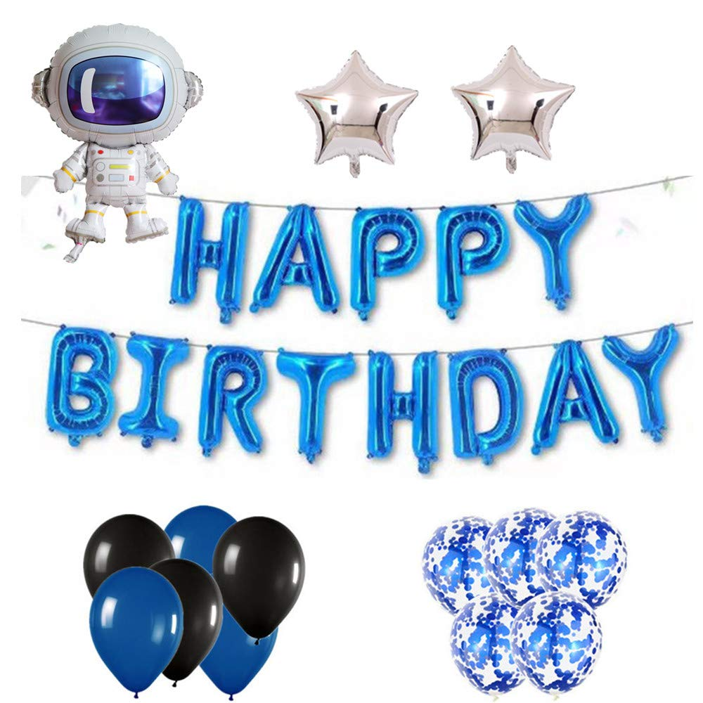 Blue for Boy Men the GreatTony Happy Birthday Balloon Banner for Space Party Decorations,Astronaut