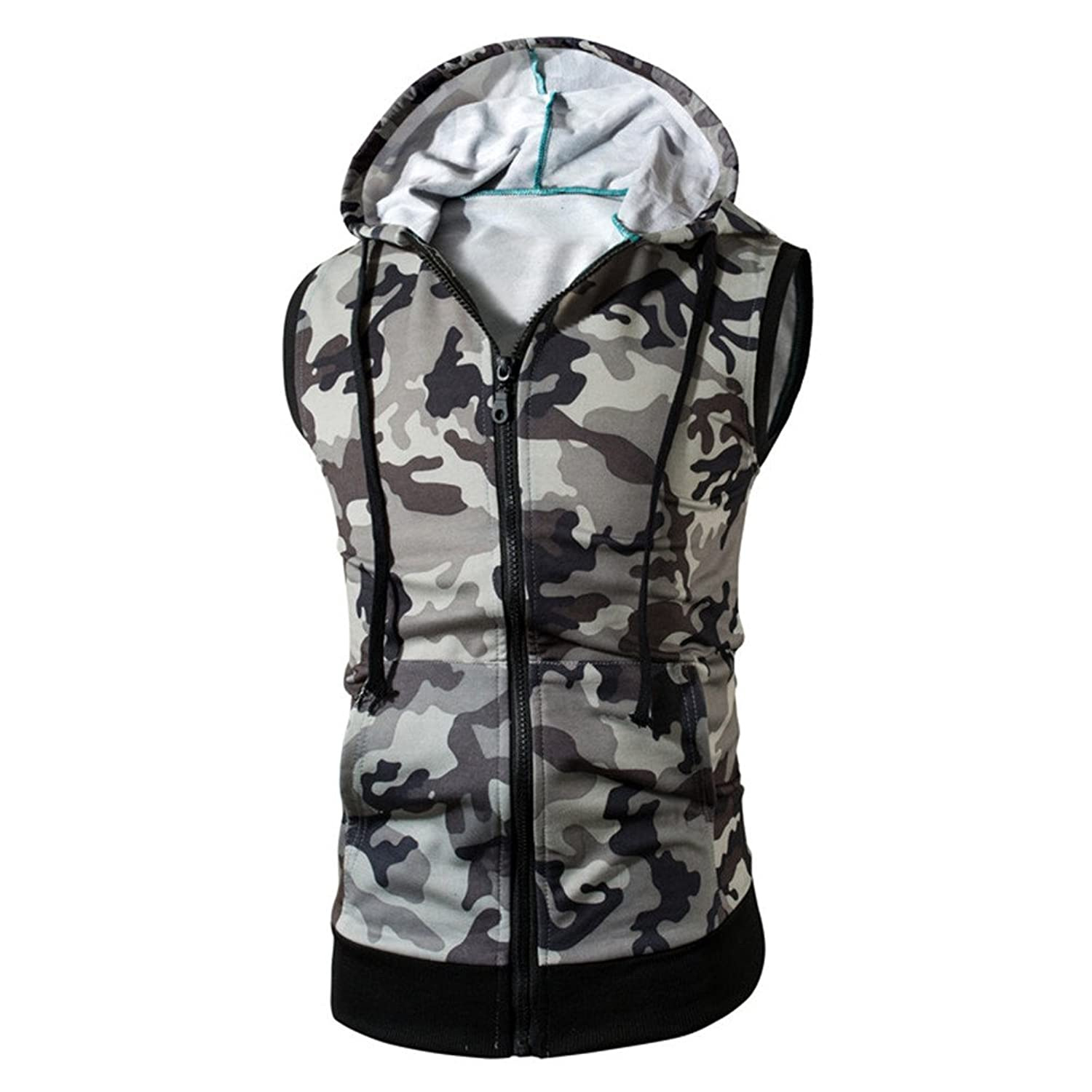 NiuZi Men's Casual Sleeveless Hoodies Outedoors Sports Camouflage Zippered Hoodie