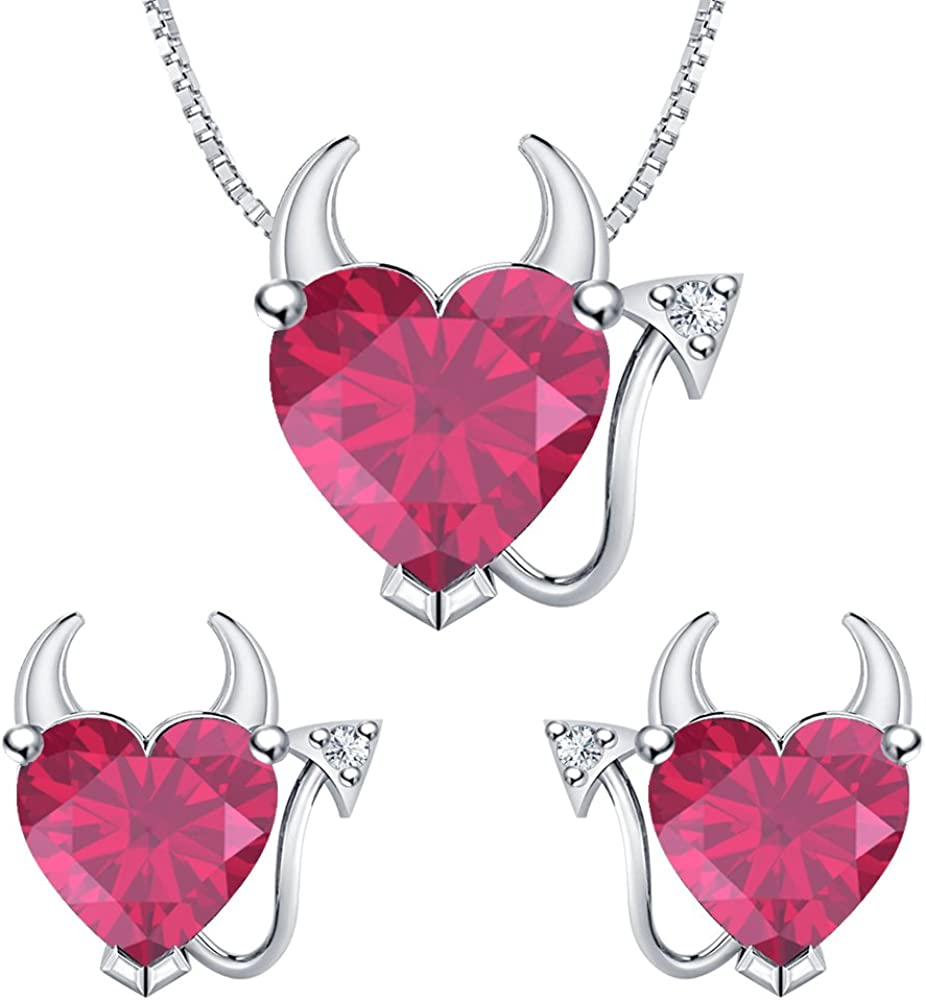 RUDRAFASHION Heart Shape Pink Ruby /& White CZ Diamond 14k White Gold Over 925 Sterling Silver Devil Jewelry Set Earrings Pendant Necklace