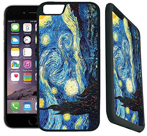 [TeleSkins] - iPhone 7 / iPhone 8 Rubber TPU Case -vincent van gogh the starry night - Ultra Durable Slim Fit, Protective Plastic with Soft RUBBER TPU Snap On Back Case / Cover. Fits (4.7 inch only) (Iphone Van)