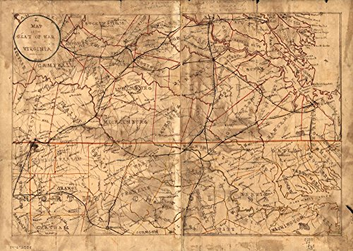 Vintage 1865 Map of the seat of war in Virginia. - Covers southern Virginia and northern North Carolina extending from Richmond, Va. south to Raleigh, N.C. - LC Civil War maps (2nd ed.) 508.6 - Shows the