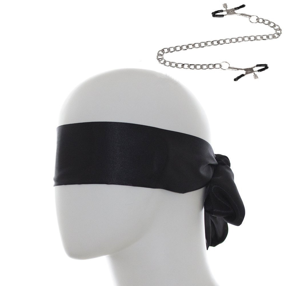 Bondage Blindfold Eye Mask Under The Bed Restraints System Bondage SM Sex Toy Sexy Nipple Clamps Chain Fashion Nipple Jewelry Clips Toys