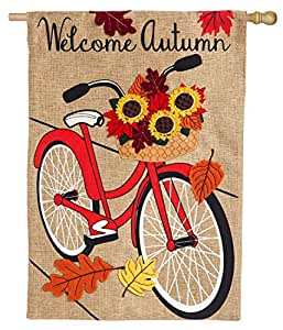 Evergreen Burlap House Flag - Autumn Bicycle