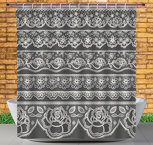 iPrint Funky Shower Curtain by, Grey Decor,Eastern Lace Pattern with Rose Floret Embellish Nostalgic Bridal Feminine Retro Art,White,Polyester Bathroom Accessories Home Decoration