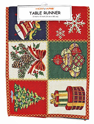 """Homvare Christmas Holiday Runner 13""""X72"""", Woven Tapestry, Table Décor, Dinner Parties-Patchwork"""
