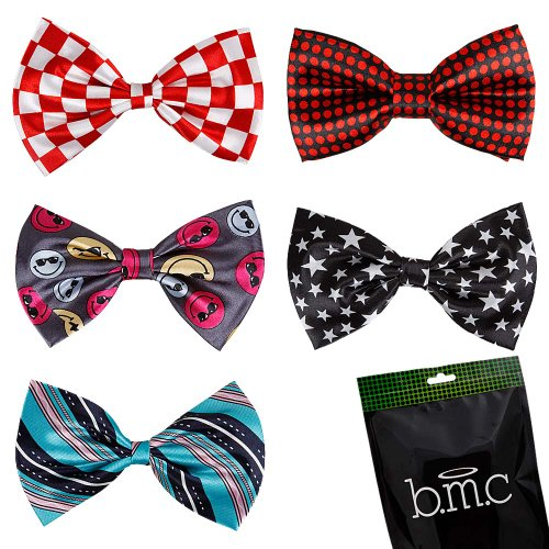 Bundle Monster Stylish Dashing 5pc Boys Tuxedo Novelty Adjustable Neck Bow Tie Lot, Dapper Junior Collection - SET 3