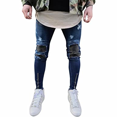 2447920eab200 Pantalones de Hombre Moda Flaco Ripeado Ajustado Motocicleta Vendimia Hip  Hop Ropa de Calle Pantalones Vaqueros