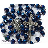 Amazon Price History for:Deep Blue Crystal Beads Rosary Catholic Necklace Holy Soil Medal & Crucifix