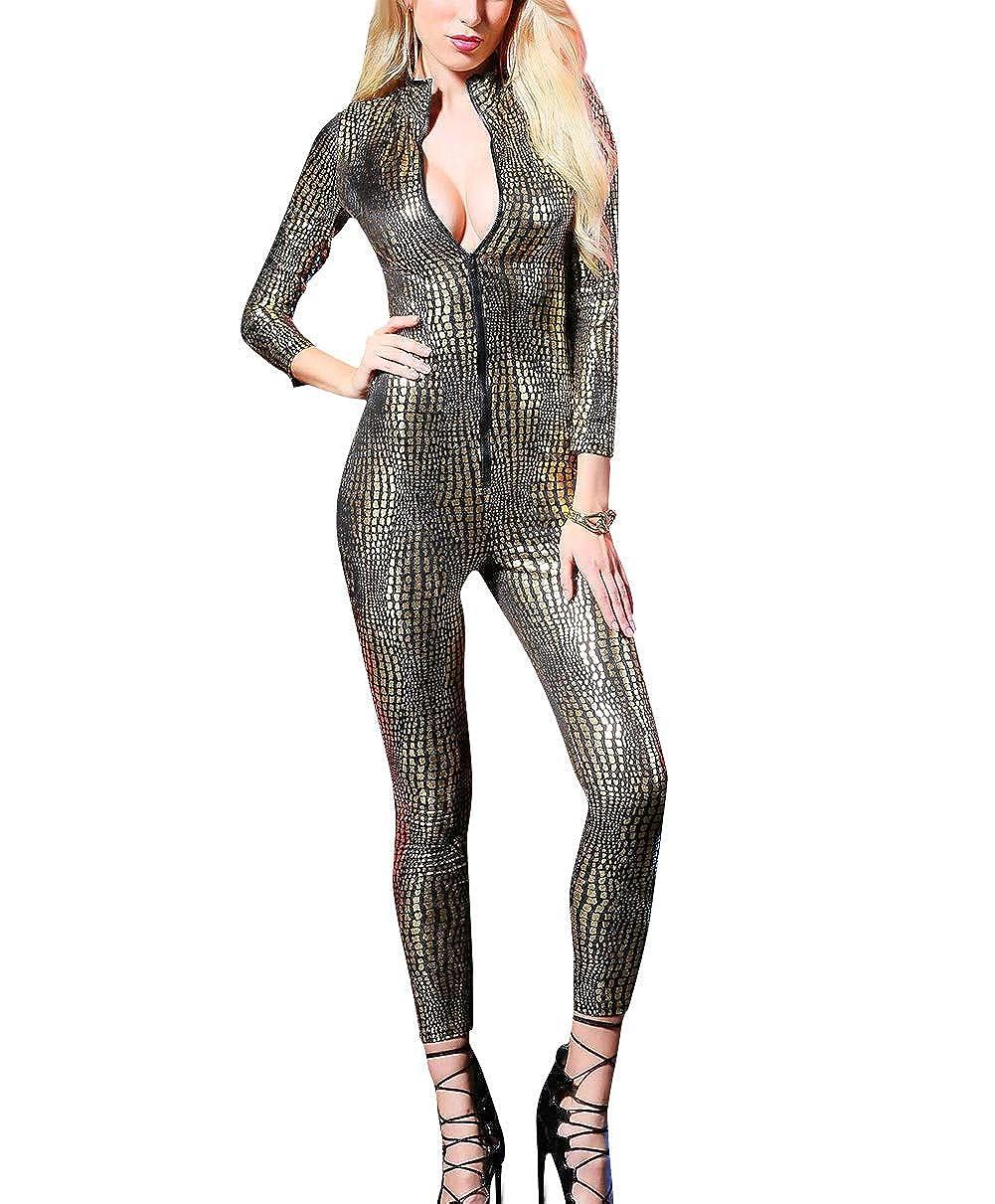 Women's Snakeskin One Piece Catsuit Skinny Bodysuit Sequin Costume Clubwear Panegy