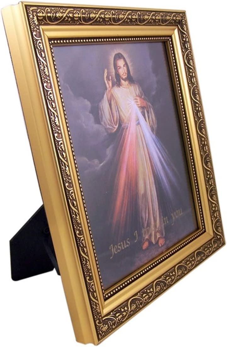 The Divine Mercy Jesus Christ Print in 13 Inch Gold Finish Frame by Gerffert