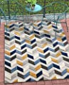 Well Woven Maui Blue Indoor/Outdoor Chevron Area Rug High Traffic Stain Resistant Modern Geometric Carpet