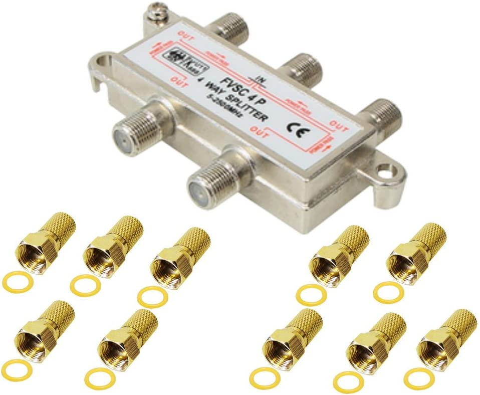 Distribuidor de 4 vías, incluye conector de 10 F, para satélite, cable, TV, DVB T y FM, HDTV, carcasa de metal fundido