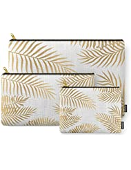 Society6 Gold Palm Leaves Carry-All Pouch