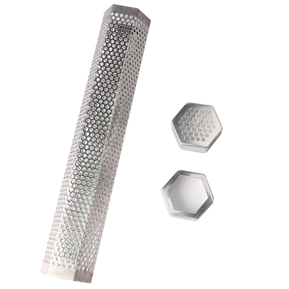 URlighting Pellet Smoker Tube - 12'' Stainless Steel Smoker Pipe BBQ Pellets Grill With Brush and S-hooks for Cold & Hot Smoking, Suitable for Any Grill and Smoker (Hexagon) by URlighting (Image #1)