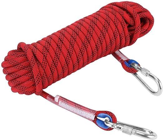 ysister Cuerda Escalada 10 Metros, diámetro 12 mm, Cuerda de Escalada en Roca Cuerda de Escape de Emergencia Cuerda Senderismo con 2 mosquetones para ...
