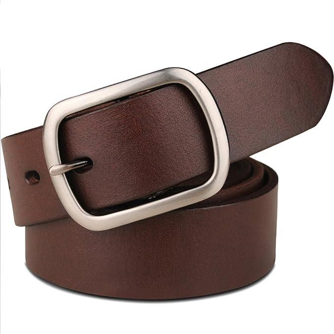 LE Cinturones de cuero de los hombres mujeres Modelos de los pares de la  hebilla salvaje de la manera simple  Amazon.es  Ropa y accesorios 6dc18847c0f2