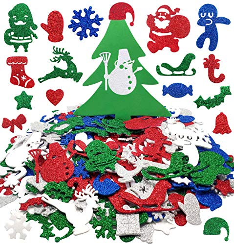 500Pcs Christmas Xmas Foam Stickers Glitter Self Adhesive Craft Stickers Bulk with Tree Santa Claus Reindeer Sharps for Kids Party Birthday Holiday Decorations