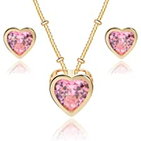 EVEVIC Swarovski Crystal Heart Pendant Necklace Earrings for Women 14K Gold Plated Hypoallergenic Jewelry Set