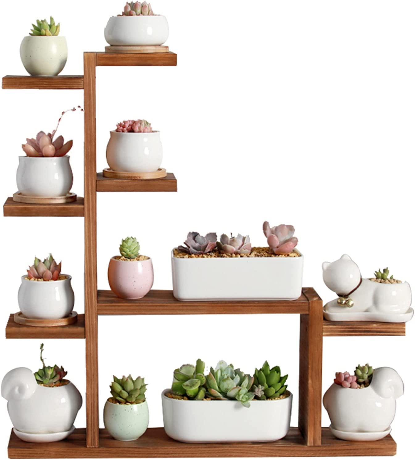 Chang-S-Q-123 Indoor Wooden Flower Stand, Multi-Layer Ladder Plant Stand Home Balcony Living Room Patio Flower Pot Display Stand(Size:509.551.5CM,Color:A)