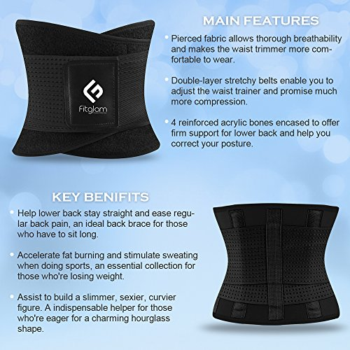 fitglam Waist Trainer Corset For Weight Loss Workout Waist