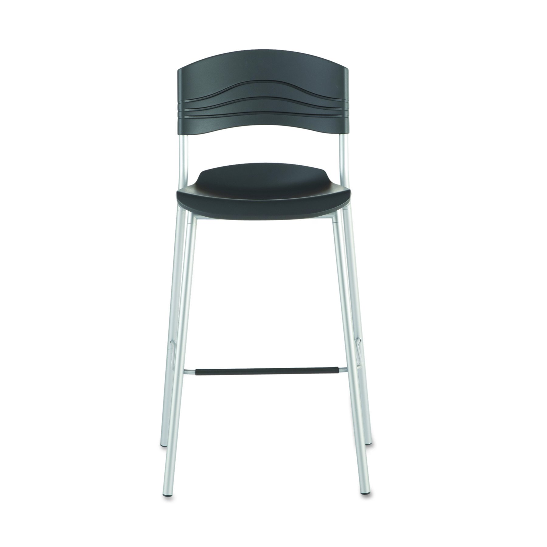 Iceberg ICE64527 CafeWorks Bistro Stool Chair with Heavy Gauge Steel Frame, 23'' Width x 44'' Height x 22'' Depth, Black