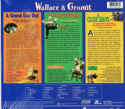 LASER DISC Production of Wallace & Gromit in Nick Park's 3 Movie Special - A Grand Day Out, The Wrong Trousers, A Close Shave - Laser Disc