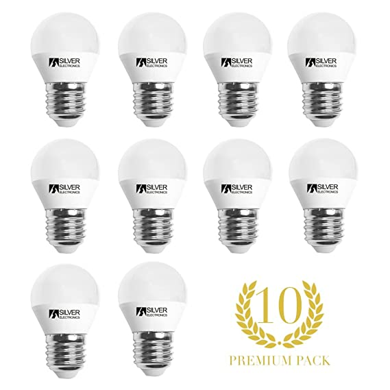 Pack 10 unidades bombilla LED esférica 6W E27 3000K: Amazon.es: Iluminación