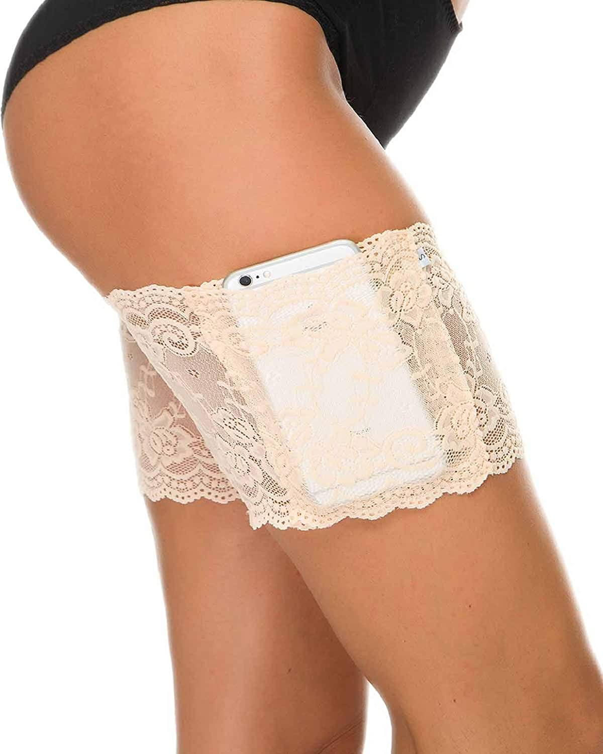 Tuopuda Women Lace Thigh Bands with Anti-Slip Silicone and Cellphone Pocket