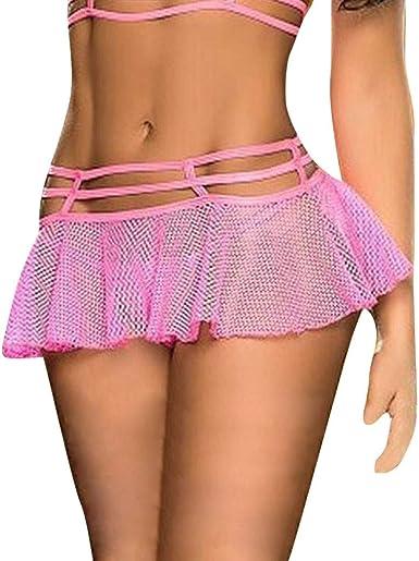 VRTYOC - Minifalda de encaje para mujer, sexy, de malla, con ropa ...
