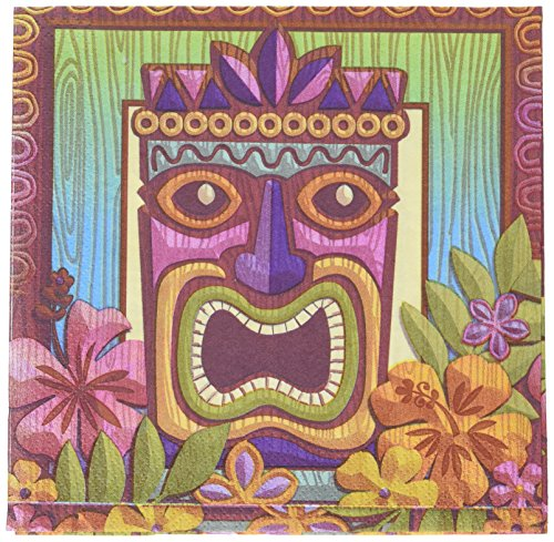 Sun-Sational Summer Luau Party Tropical Tiki Luncheon Napkins Tableware, Paper, 6 5