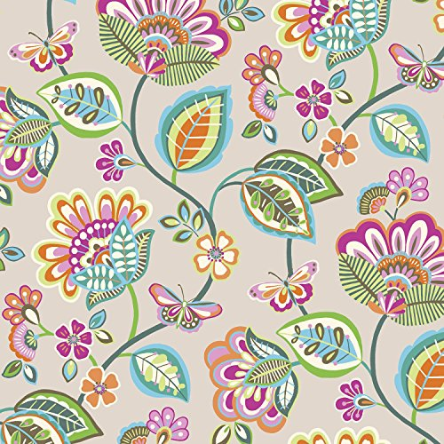 Jillson Roberts 6-Roll Count All-Occasion Floral Gift Wrap Available in 11 Different Designs, Vintage Wallpaper