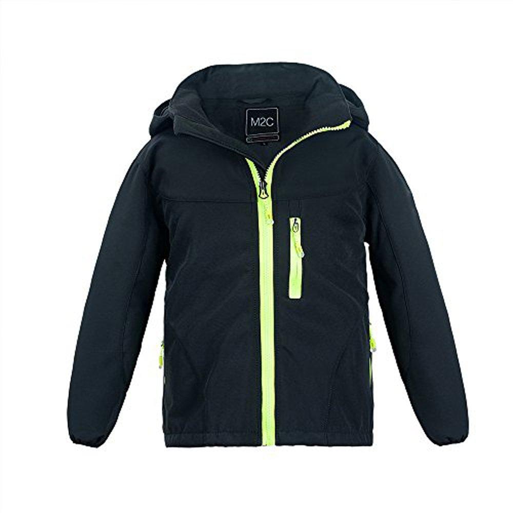 M2C Boys & Girls Hooded Winter Windbreaker Fleece Lined Softshell Jacket 8/9 Black