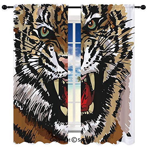 RWNFA Semi Sheer Curtain,Digital Drawing of Large Feline Sketch Style Angry Big Cat with Intense Eyes Print Decorative 52