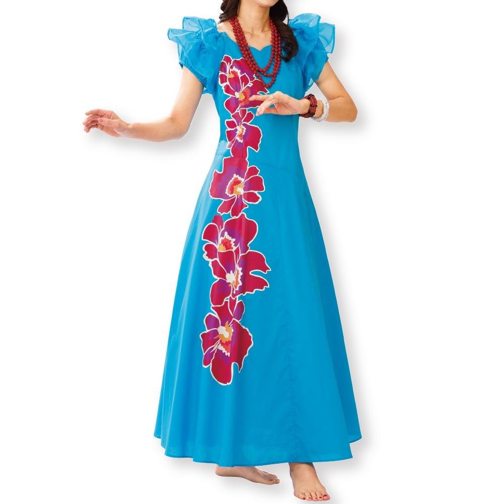 フラダンス衣装 オーキッドプリントドレス OP317-3188 ハワイアン タヒチアン ムームーフラ ドレス B06XW8ZL23  ブルー系 LL