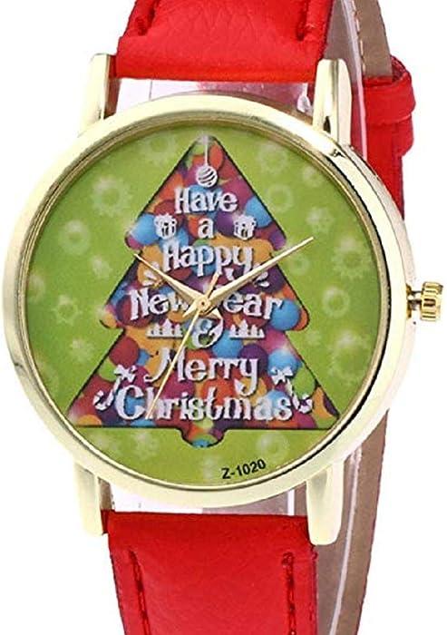 Scpink Mujeres Árbol de Navidad Patrón Relojes de Pulsera para Mujer Relojes analógicos Relojes Femeninos de Cuero