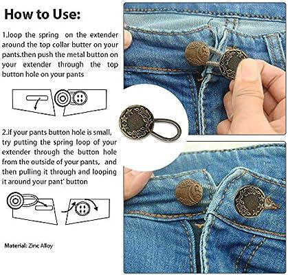 Prolongador de botón elástico para mujeres embarazadas, pantalones vaqueros de hombre. (Dorado)