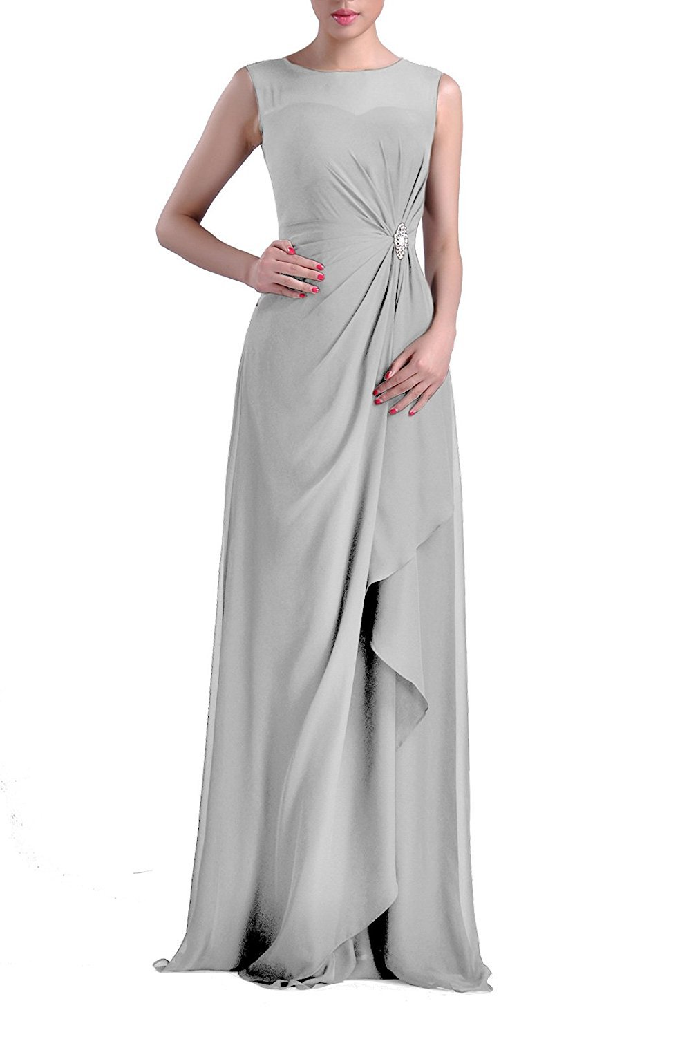 da190ba71e2 VaniaDress Women Sheer Neck Long Evening Dress Formal Gowns V093LF Silver  US16