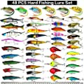 Hard Fishing Lure Set 43pcs Assorted Bass Fishing Lure Kit Colorful Minnow Popper Crank Rattlin VIB Jointed Fishing Lure Set Hard Crankbait Tackle Pack For Saltwater or Freshwater