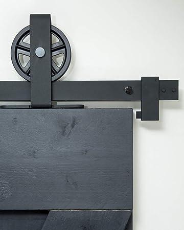 Sistema de puerta corredera, rueda superior de radios de 200 cm, juego completo con ruedas y carril, sistema de puerta corredera de 2 metros, rueda de radios - Spoke top black: Amazon.es: