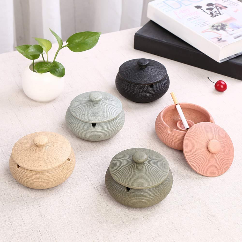 pittospwer Bougeoir Avec Bougeoir En C/éramique En Forme De Vase Rond Portable /à La Maison Avec Couvercle rose