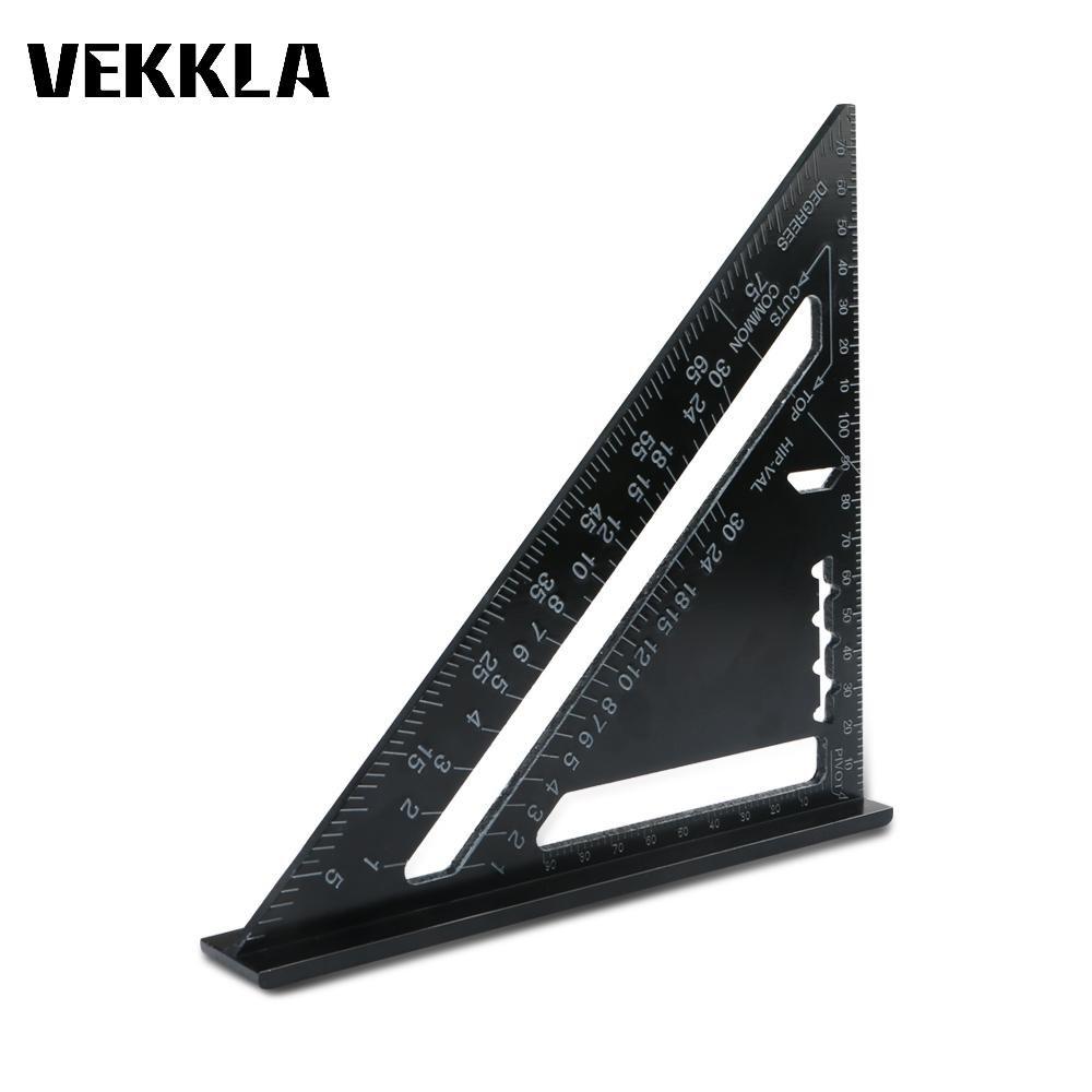 Cacys Store - 1Pc 7 Inch Metric Aluminum Alloy Black Triangular Measuring Ruler Woodworking Ruler Angle Protractor Gauge DIY Measuring Tool