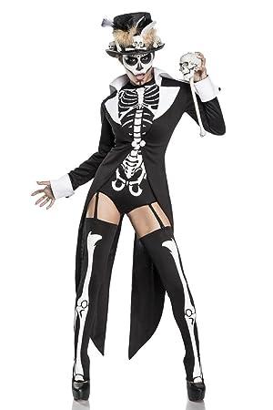 781813886535de Damen Voodoo Priesterin Fantasy Kostüm Skelett Verkleidung aus Frack ...