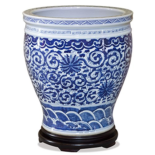 ChinaFurnitureOnline Porcelain Fishbowl, 15 inches Floral Motif Canton Planter Blue and White