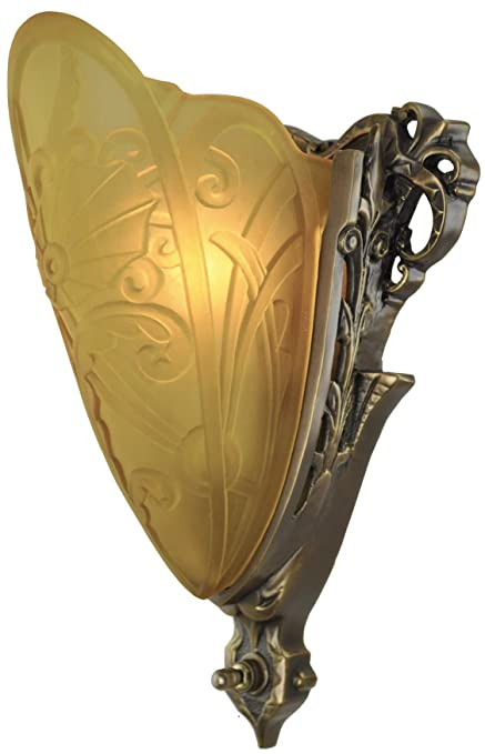 Art Deco Slip Shade Medieval Sconce With Amber Shade (282-LES2-DK ...