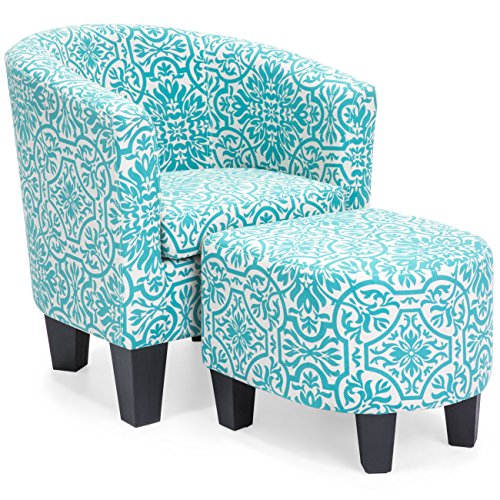 Best Choice Products Linen Upholstered Modern Contemporary Barrel Accent Chair Furniture Set with Matching Ottoman and Birch Wood Legs, Teal Floral Print