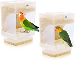 RYPET 2 PCS No-Mess Bird Feeder - Integrated Parrot Automatic Feeder for Small to Medium Birds Seed Food Container