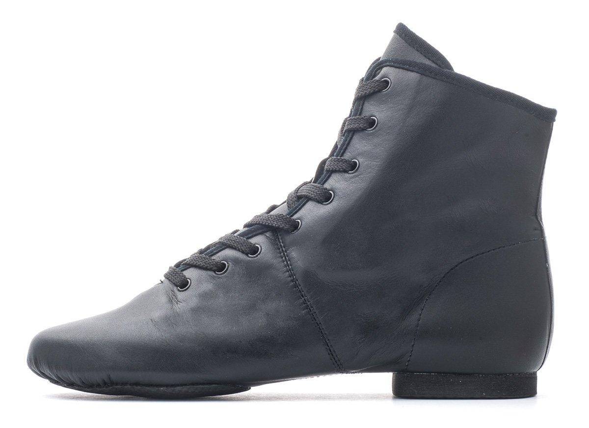 f42e8fc5d13c Black PU Rubber Split Sole Lace Up Jazz Dance Stage Practice Boot Shoes By  Katz Dancewear